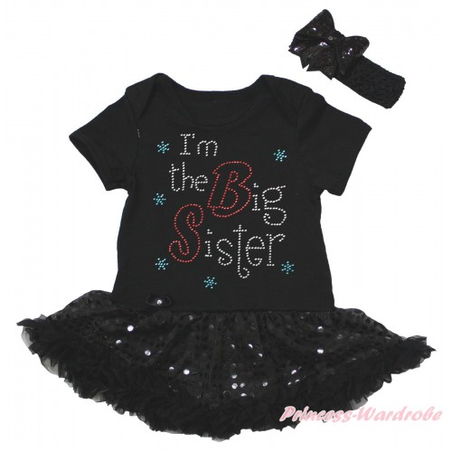 Black Baby Bodysuit Jumpsuit Bling Black Sequins Pettiskirt & Sparkle Rhinestone I'm The Big Sister Print JS5614