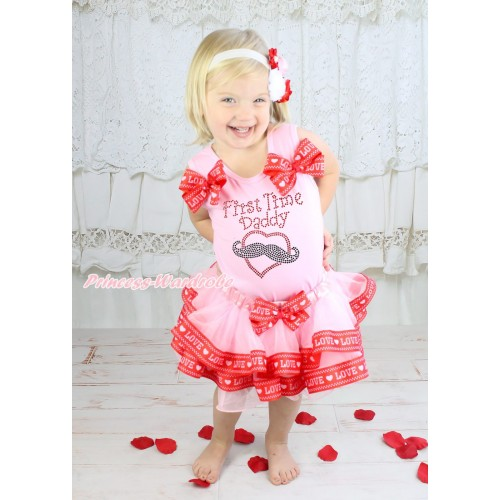 Light Pink Baby Pettitop Red LOVE Bows & Rhinestone First Time Daddy Print & Light Pink Red LOVE Trimmed Baby Pettiskirt NG1929