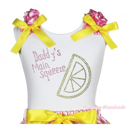 White Tank Top Hot Pink White Dots Ruffles Yellow Bow & Sparkle Rhinestone Daddy's Main Squeeze Print TB1412