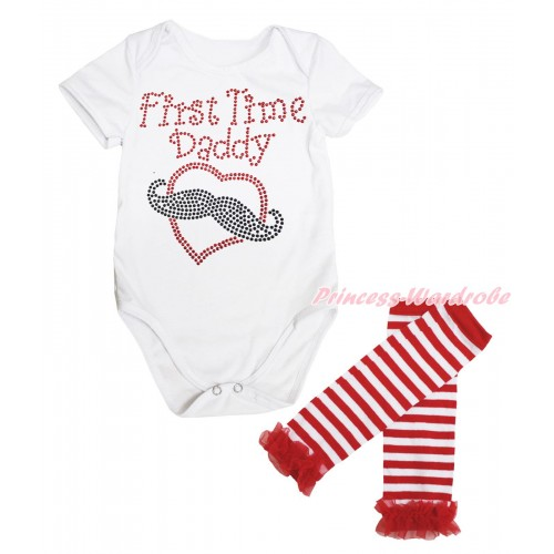 White Baby Jumpsuit Sparkle Rhinestone First Time Daddy Print & Warmer Set TH653