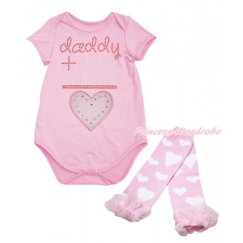 Valentine's Day Light Pink Baby Jumpsuit & Sparkle Rhinestone Daddy Plus Me Is Light Pink Heart Print & Warmer Set TH711