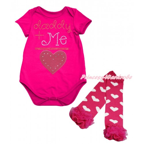 Valentine's Day Hot Pink Baby Jumpsuit & Sparkle Rhinestone Daddy Plus Me Is Hot Pink Heart Print & Warmer Set TH712