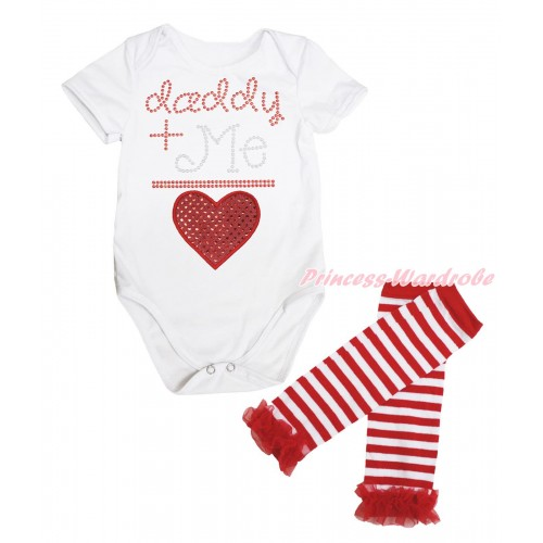 Valentine's Day White Baby Jumpsuit & Sparkle Rhinestone Daddy Plus Me Is Sparkle Red Heart Print & Warmer Set TH713