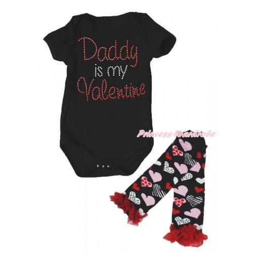 Valentine's Day Black Baby Jumpsuit & Sparkle Crystal Bling Rhinestone Daddy Is My Valentine Print & Warmer Set TH714