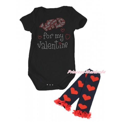 Valentine's Day Black Baby Jumpsuit & Sparkle Crystal Bling Rhinestone Wild for my Valentine Print & Warmer Set TH715