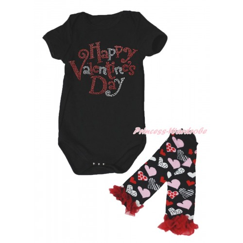 Valentine's Day Black Baby Jumpsuit & Sparkle Crystal Bling Rhinestone Happy Valentine's Day Print & Warmer Set TH716