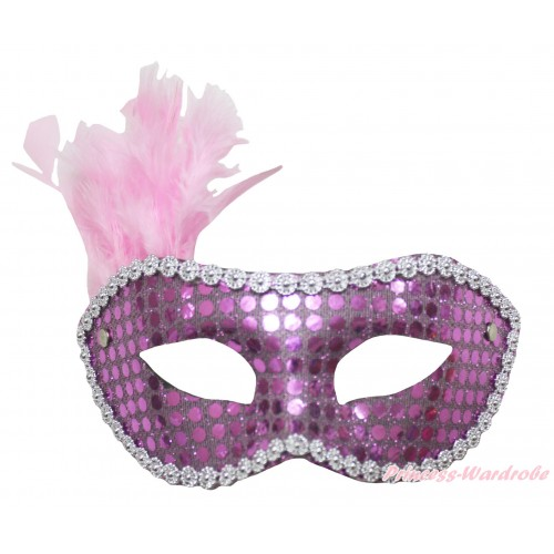 Mardi Gras Lavender Feather Bling Sequins Halloween Costume Face Eyes Mask C431