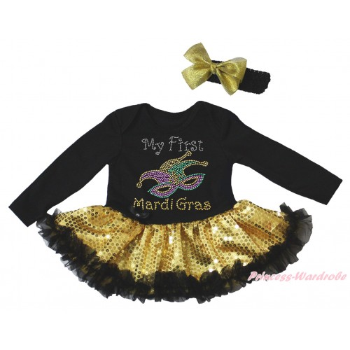 Mardi Gras Black Long Sleeve Bodysuit Bling Gold Sequins Black Pettiskirt & Sparkle Rhinestone My First Mardi Gras Clown Mask Print JS4960