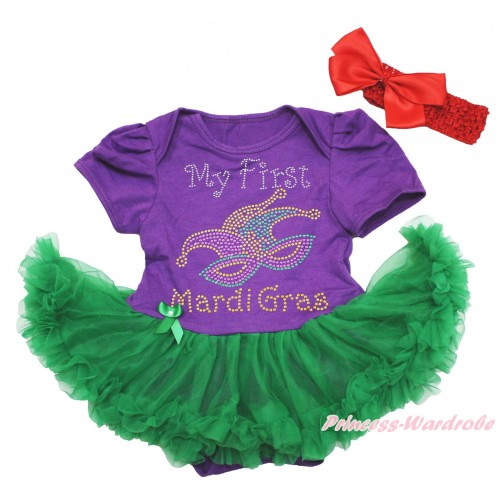 Mardi Gras Dark Purple Baby Bodysuit Kelly Green Pettiskirt & Sparkle Rhinestone My First Mardi Gras Clown Mask Print JS4964