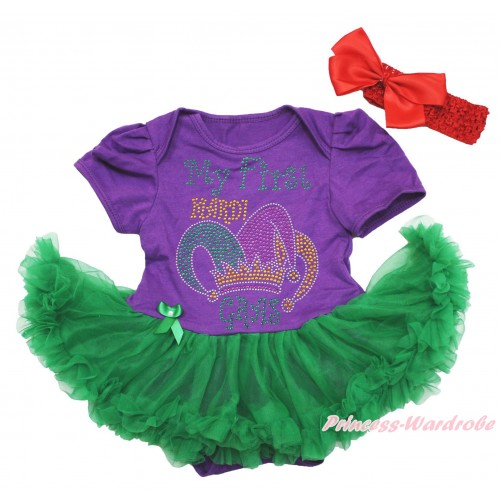 Mardi Gras Dark Purple Baby Bodysuit Kelly Green Pettiskirt & Sparkle Rhinestone My First Mardi Gras Clown Hat Print JS4965