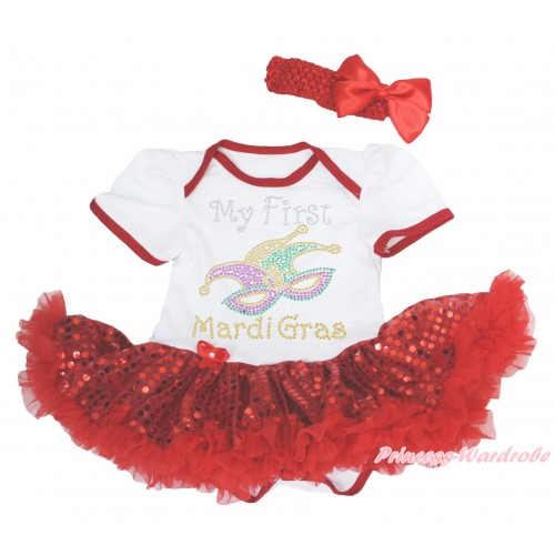 Mardi Gras White Baby Bodysuit Bling Red Sequins Pettiskirt & Sparkle Rhinestone My First Mardi Gras Clown Mask Print JS4966