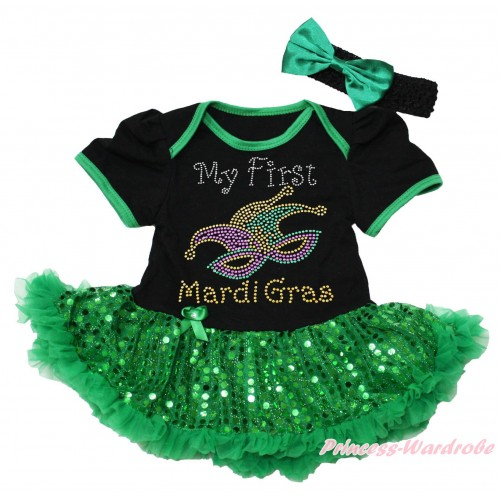 Mardi Gras Black Baby Bodysuit Bling Kelly Green Sequins Pettiskirt & Sparkle Rhinestone My First Mardi Gras Clown Mask Print JS4968