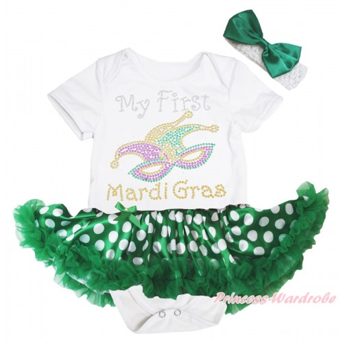 Mardi Gras White Baby Bodysuit Green White Dots Pettiskirt & Sparkle Rhinestone My First Mardi Gras Clown Mask Print JS4972
