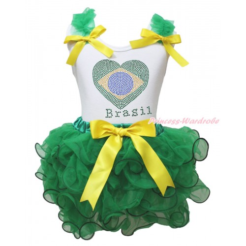World Cup White Tank Top Kelly Green Ruffles Yellow Bows & Sparkle Crystal Bling Rhinestone Brazil Heart Print & Kelly Green Petal Pettiskirt MG2242