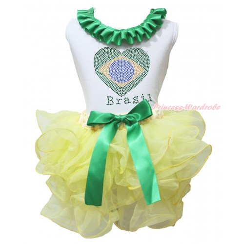 World Cup White Tank Top Kelly Green Lacing & Sparkle Crystal Bling Rhinestone Brazil Heart Print & Yellow Petal Pettiskirt MG2244