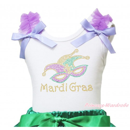 Mardi Gras White Tank Top Dark Purple Ruffles Lavender Bow & Sparkle Rhinestone Mardi Gras Clown Mask Print TB1393