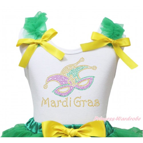 Mardi Gras White Tank Top Kelly Green Ruffles Yellow Bow & Sparkle Rhinestone Mardi Gras Clown Mask Print TB1395