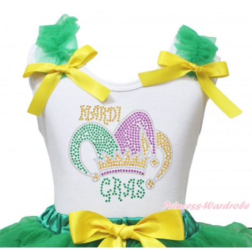 Mardi Gras White Tank Top Kelly Green Ruffles Yellow Bow & Sparkle Rhinestone Mardi Gras Clown Hat Print TB1396