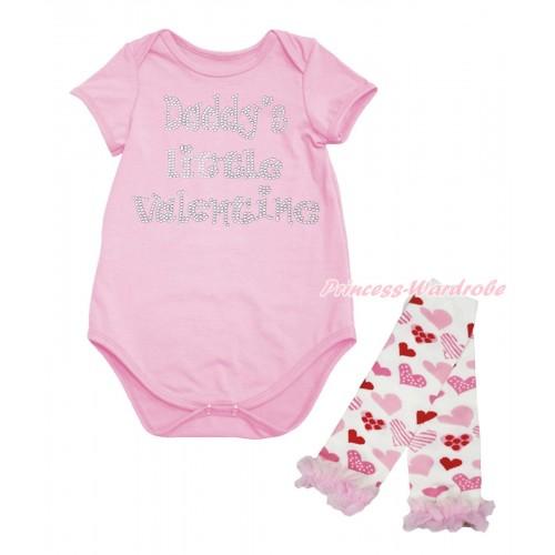 Valentine's Day Light Pink Baby Jumpsuit & Sparkle Rhinestone Daddy's Little Valentine Print & Warmer Set TH701