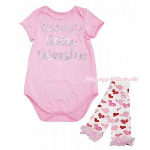 Valentine's Day Light Pink Baby Jumpsuit & Sparkle Rhinestone Mummy's Little Valentine Print & Warmer Set TH702