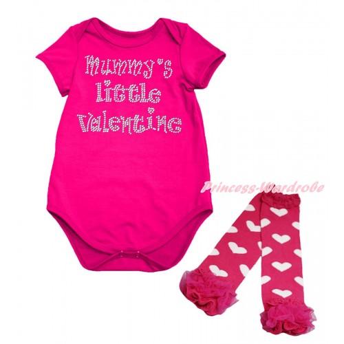 Valentine's Day Hot Pink Baby Jumpsuit & Sparkle Rhinestone Mummy's Little Valentine Print & Warmer Set TH703