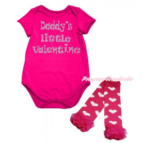Valentine's Day Hot Pink Baby Jumpsuit & Sparkle Rhinestone Daddy's Little Valentine Print & Warmer Set TH704
