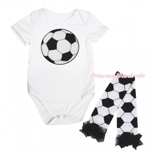 White Baby Jumpsuit & Football Print & Warmer Set TH705