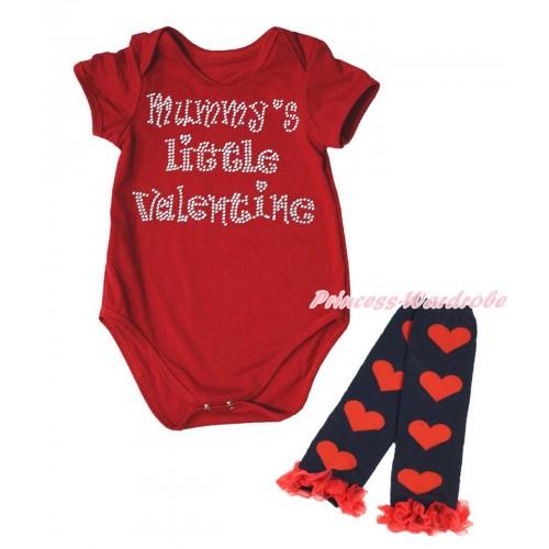 Valentine's Day Red Baby Jumpsuit & Sparkle Rhinestone Mummy's Little Valentine Print & Warmer Set TH707