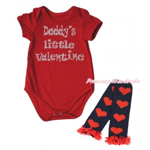 Valentine's Day Red Baby Jumpsuit & Sparkle Rhinestone Daddy's Little Valentine Print & Warmer Set TH708