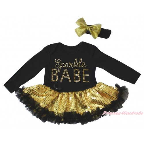 Black Long Sleeve Bodysuit Bling Gold Sequins Black Pettiskirt & Sparkle Rhinestone Sparkle BABE Print JS4947