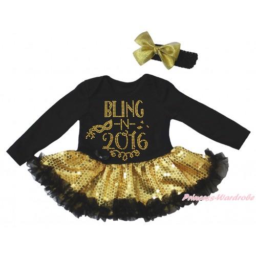 Black Long Sleeve Bodysuit Bling Gold Sequins Black Pettiskirt & Sparkle Rhinestone Bling In 2016 Print JS4948