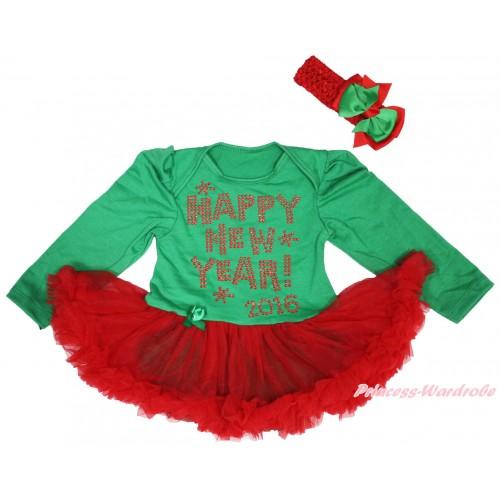 Kelly Green Long Sleeve Bodysuit Red Pettiskirt & Sparkle Rhinestone Happy New Year 2016 Print JS4953