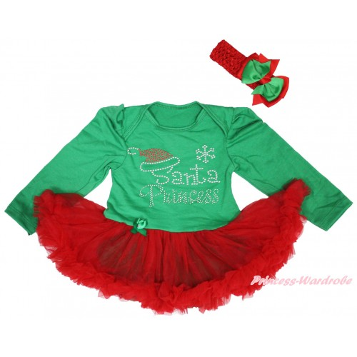 Christmas Kelly Green Long Sleeve Bodysuit Red Pettiskirt & Sparkle Rhinestone Santa Princess Print JS4954