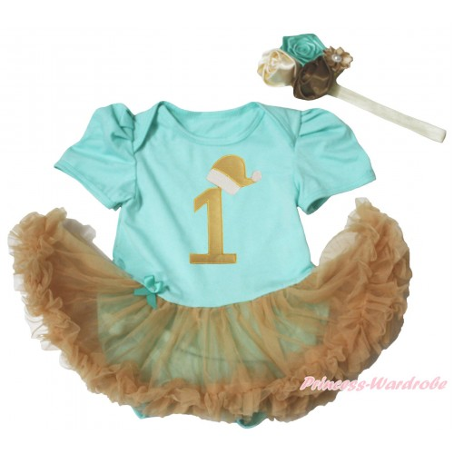 Christmas Aqua Blue Baby Bodysuit Goldenrod Pettiskirt & 1st Gold Santa Hat Birthday Number JS4957
