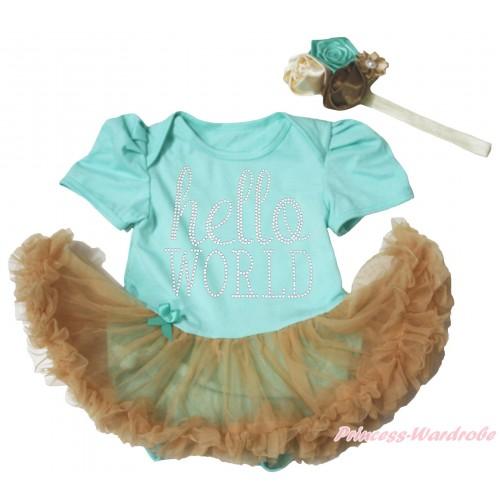 Aqua Blue Baby Bodysuit Goldenrod Pettiskirt & Sparkle Rhinestone Hello World Print JS4975