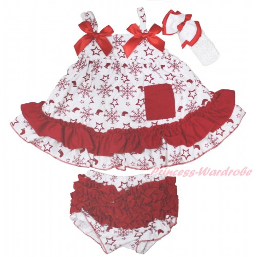 Christmas Snowflakes Socks Stars Swing Top Red Bow matching Panties Bloomers SP37