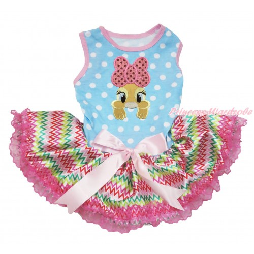 Easter Light Blue White Dots Sleeveless Rainbow Chevron Lace Gauze Skirt & Pink Bow Bunny Rabbit Print & Light Pink Bow Elegent Pet Dress DC205
