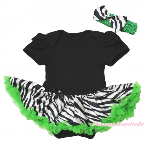 Black Baby Bodysuit Zebra Dark Green Pettiskirt JS4372