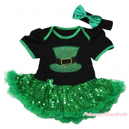 St Patrick's Day Black Baby Bodysuit Bling Kelly Green Sequins Pettiskirt & Sparkle Kelly Green Hat Print JS4376
