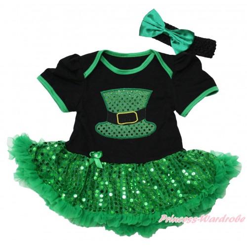 St Patrick's Day Black Baby Bodysuit Bling Kelly Green Sequins Pettiskirt & Sparkle Kelly Green Hat Print JS4376