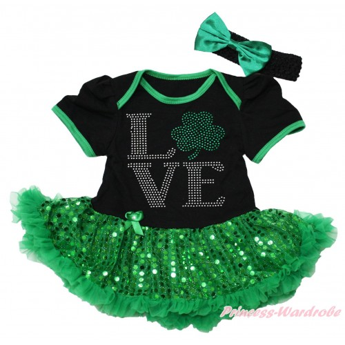St Patrick's Day Black Baby Bodysuit Bling Kelly Green Sequins Pettiskirt & Sparkle Rhinestone Love Clover Print JS4377