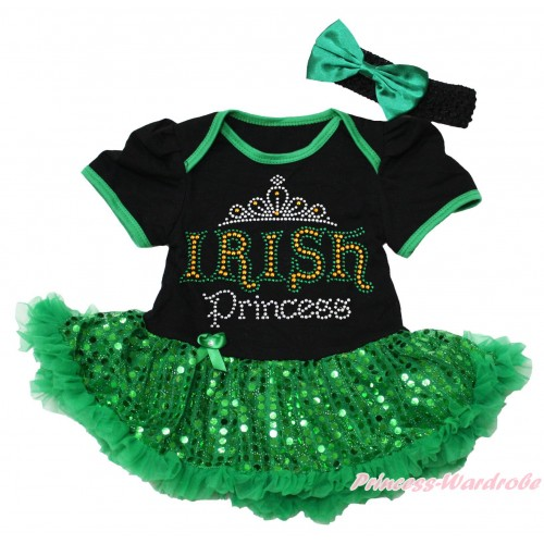 St Patrick's Day Black Baby Bodysuit Bling Kelly Green Sequins Pettiskirt & Sparkle Rhinestone IRISH Princess Print JS4378