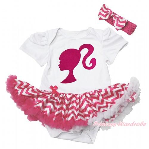 White Baby Bodysuit Hot Pink White Chevron Pettiskirt & Hot Pink Barbie Princess Print JS4383