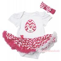 Easter White Baby Bodysuit Hot Pink White Chevron Pettiskirt & Pink White Chevron Rabbit Egg Print JS4384