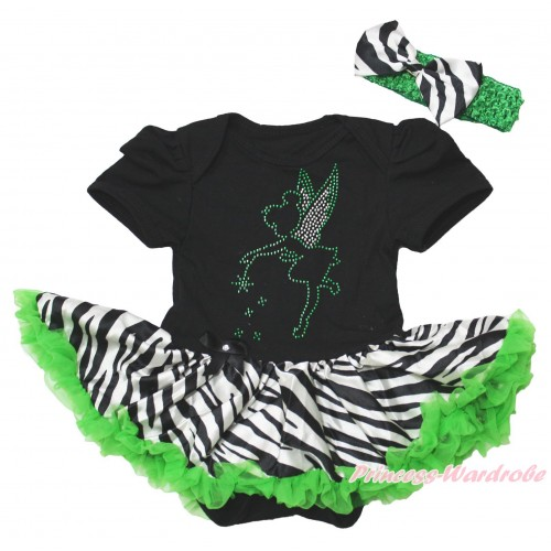 Black Baby Bodysuit Zebra Dark Green Pettiskirt & Tinker Bell Print JS4392