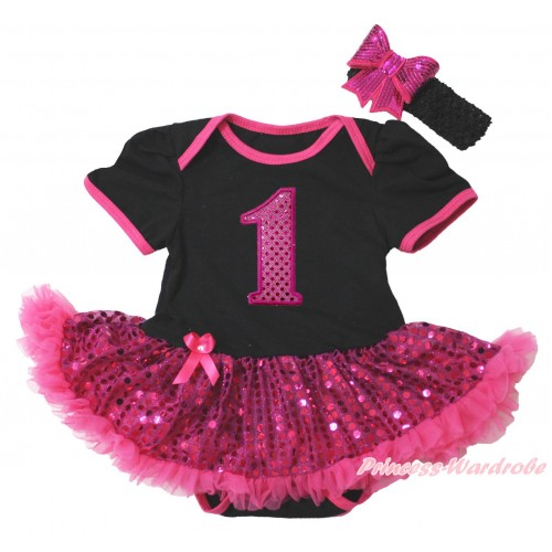Black Baby Bodysuit Bling Hot Pink Sequins Pettiskirt & 1st Sparkle Hot Pink Birthday Number Print JS4395