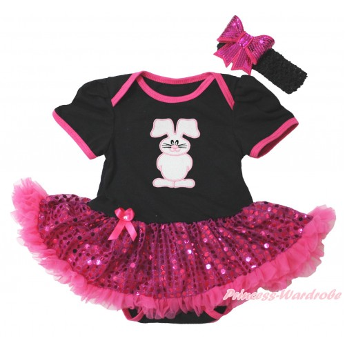 Easter Black Baby Bodysuit Bling Hot Pink Sequins Pettiskirt & Bunny Rabbit Print JS4397