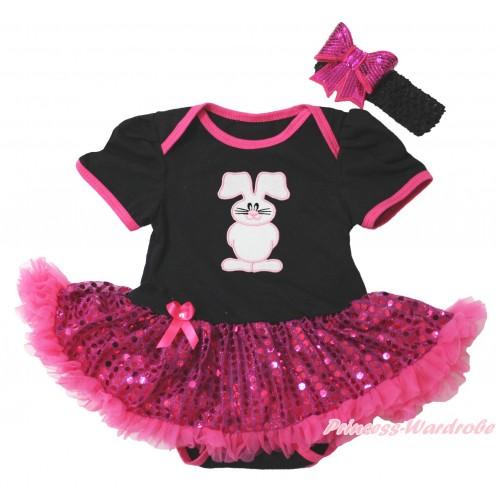 Easter Black Baby Bodysuit Bling Hot Pink Sequins Pettiskirt & Bunny Rabbit Print JS4397