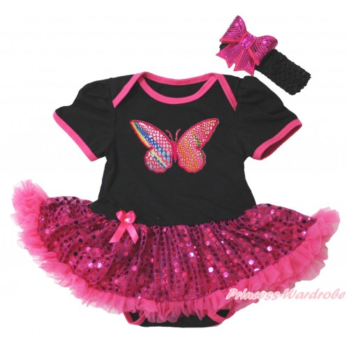 Black Baby Bodysuit Bling Hot Pink Sequins Pettiskirt & Rainbow Butterfly Print JS4398