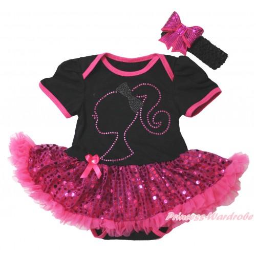 Black Baby Bodysuit Bling Hot Pink Sequins Pettiskirt & Sparkle Rhinestone Barbie Princess Print JS4399